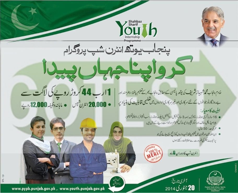 Punjab Youth Internship Program 2014 Apply Online – Application Form Download