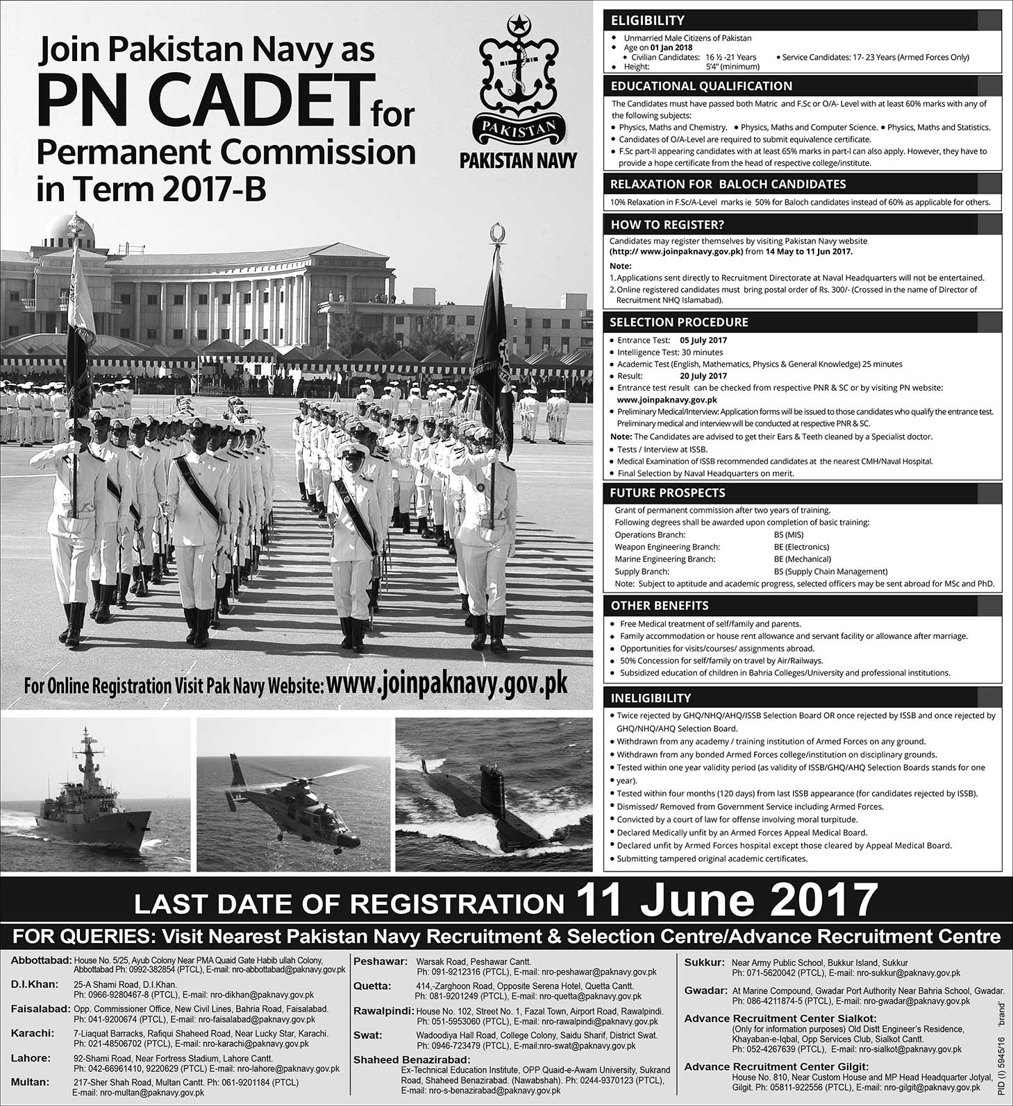 Join Pak Navy PN cadet Permanent commissioned