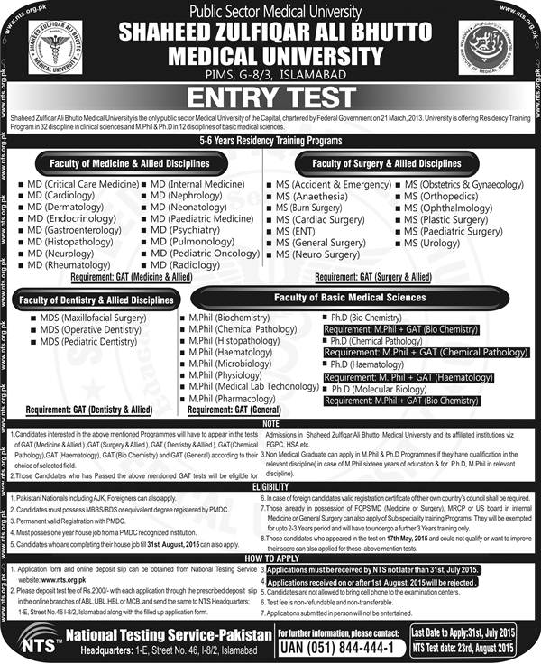 Shaheed Zulfiqar Ali Bhutto Medical University NTS GAT Entry Test
