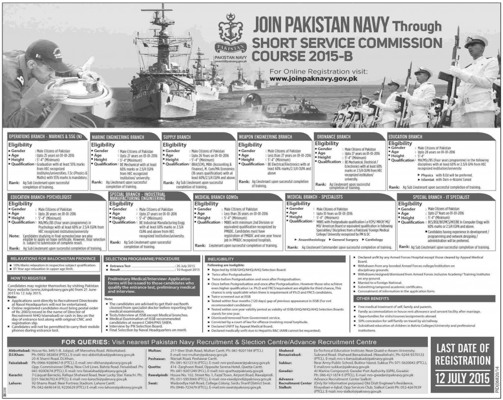 Join Pak Navy As a Short Service Commission Course 2015-B