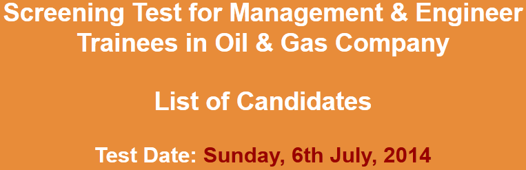 Management & Engineer Trainees Oil & Gas Company NTS Test 2014