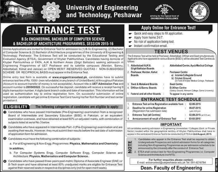 UET Admission BSC Engineering and Technology
