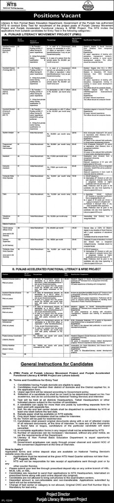 PMU Jobs 2014 NTS Test Online Preparation