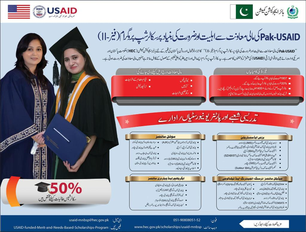 Pak-USAID HEC Scholarship Program 2015 Phase II Eligibility Criteria Application Form Download Online