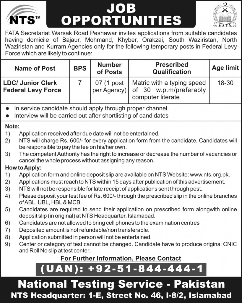 Federal Levy Force FATA Jobs 2015 NTS Test Preparation