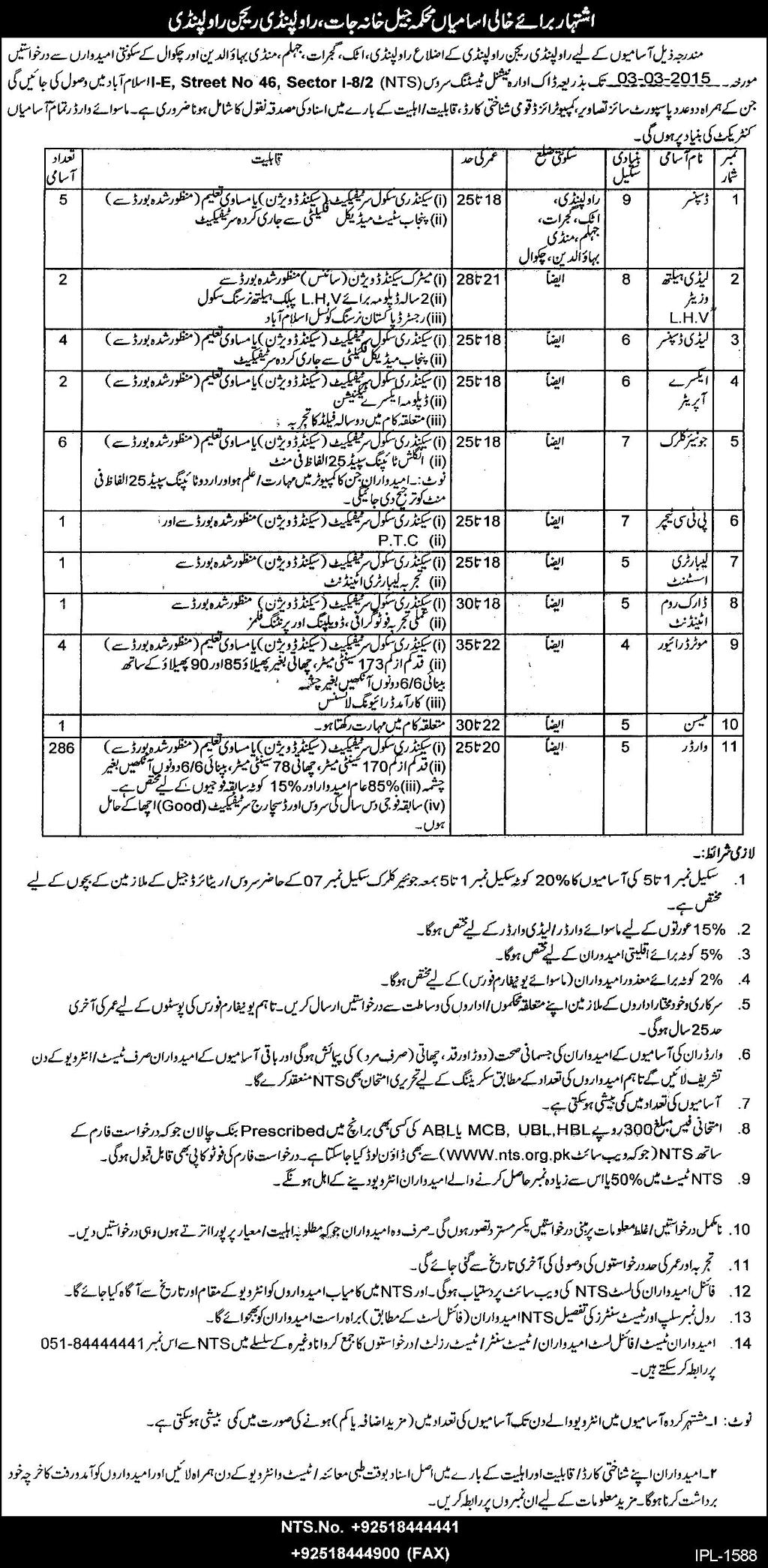 Punjab Jail Police Jobs Rawalpindi 2015