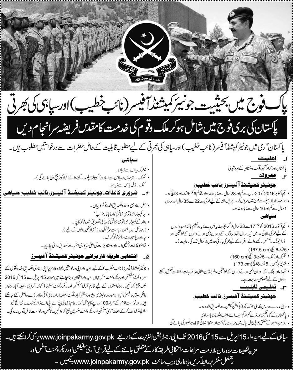 Join Pak Army as Junior Commissioned Officer and Soldiers 2016