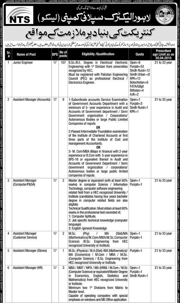 LESCO Jobs 2015 NTS Online Test Preparation