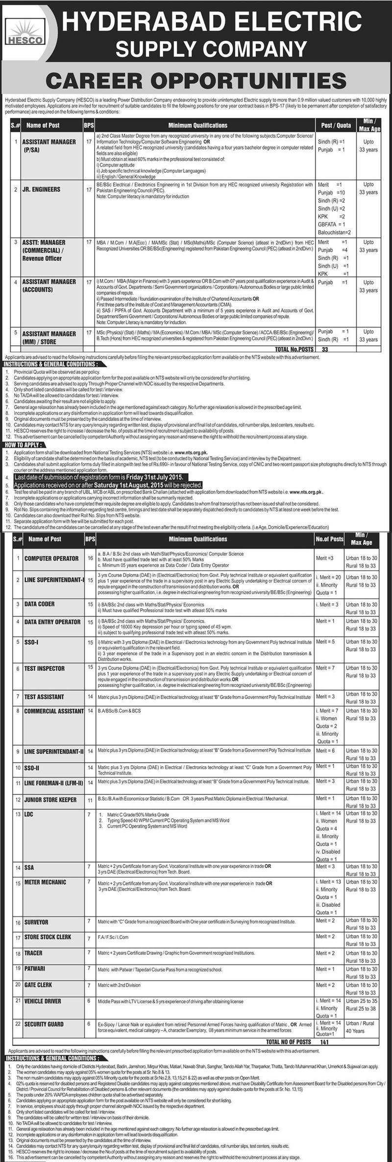 HESCO Jobs 2015 NTS Test Online Preparation