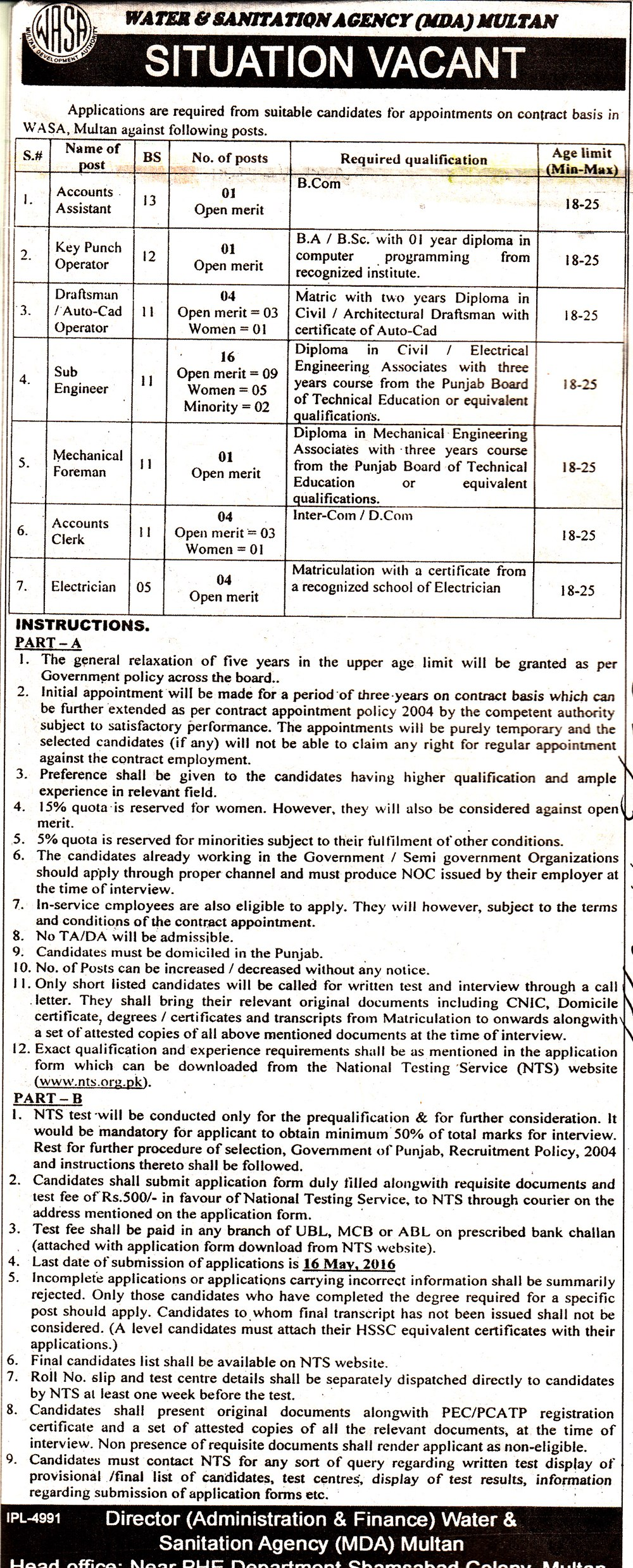 Multan Development Authority MDA Jobs NTS Test 2016