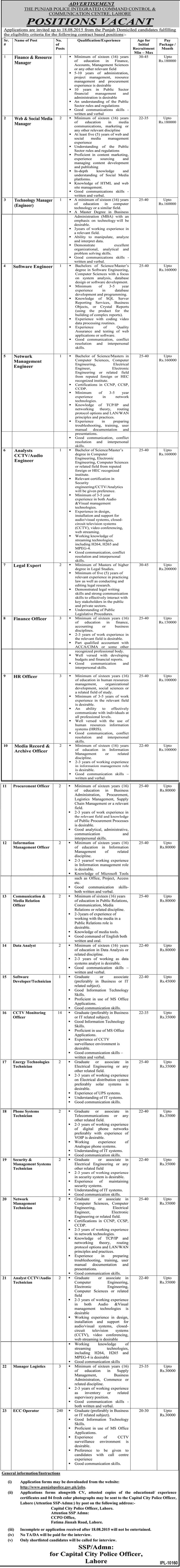 Punjab Police Integrated Command Centre Lahore Jobs 2016