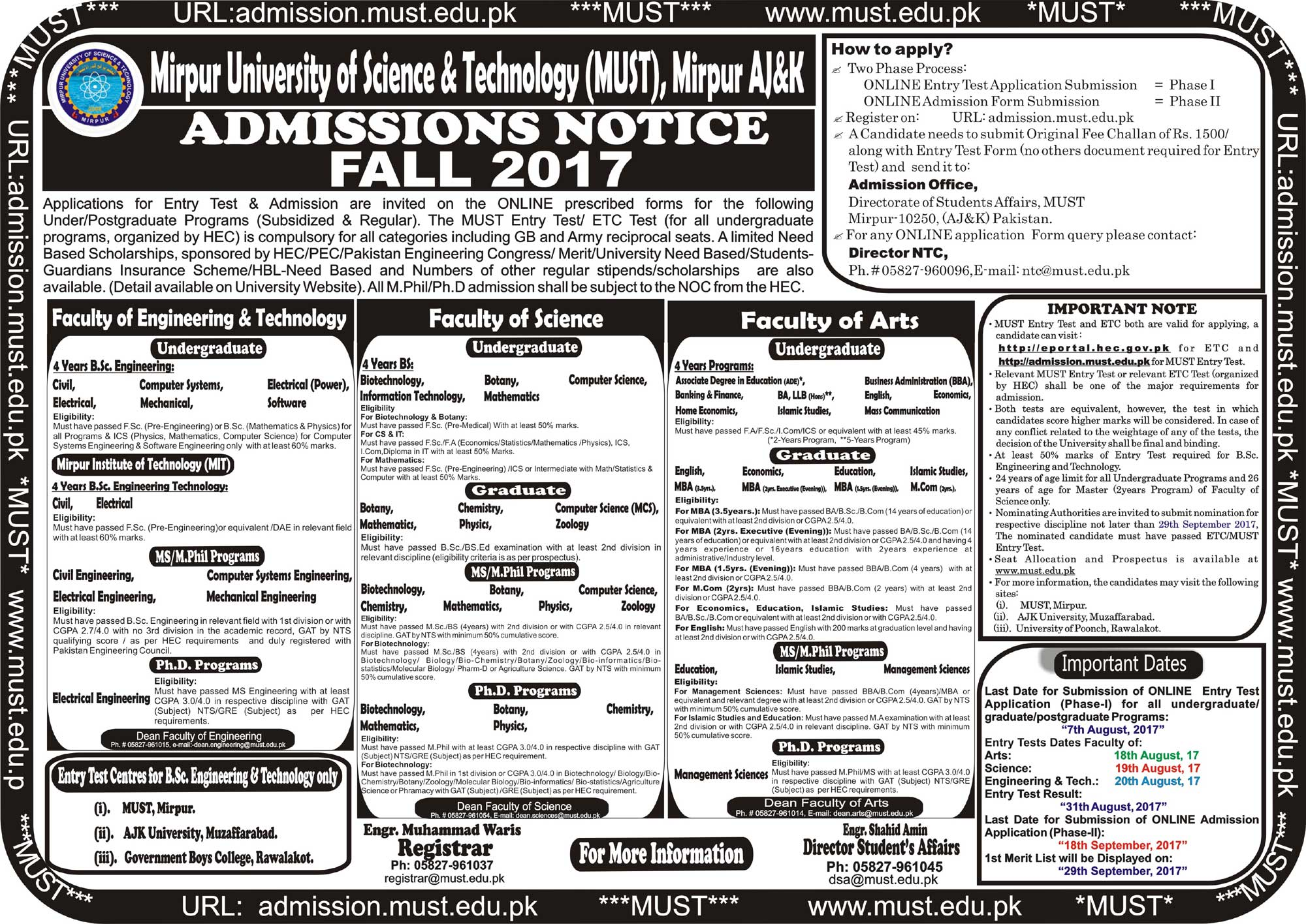 MUST admissions 2017