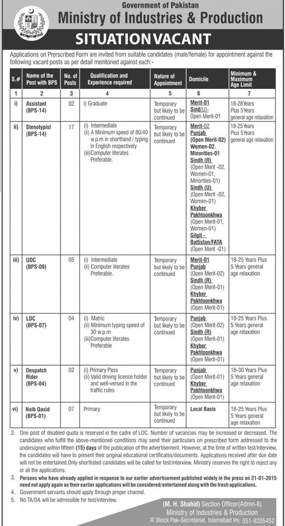 Ministry of Industries and Production Jobs 2016