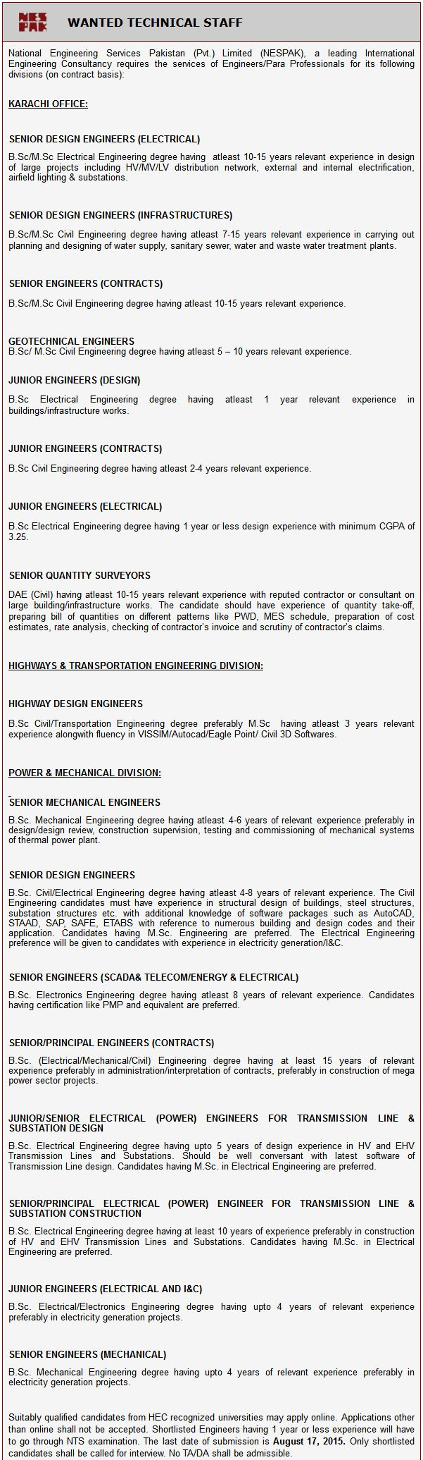 NESPAK Engineers Jobs 2016
