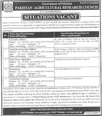 Pakistan Agricultural Research Council PARC Jobs 2016
