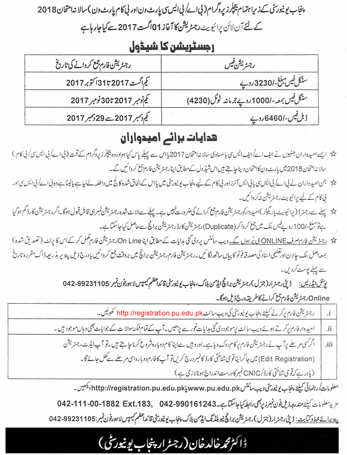 Punjab University BA BSc Annual Exams