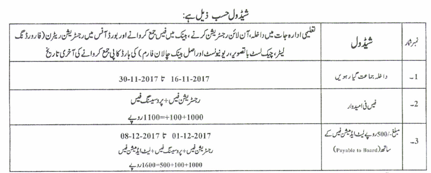 BISE Gujranwala Online 9th 10th Inter FA Fsc Admission Forms Fee 2021 Submission Dates Schedule