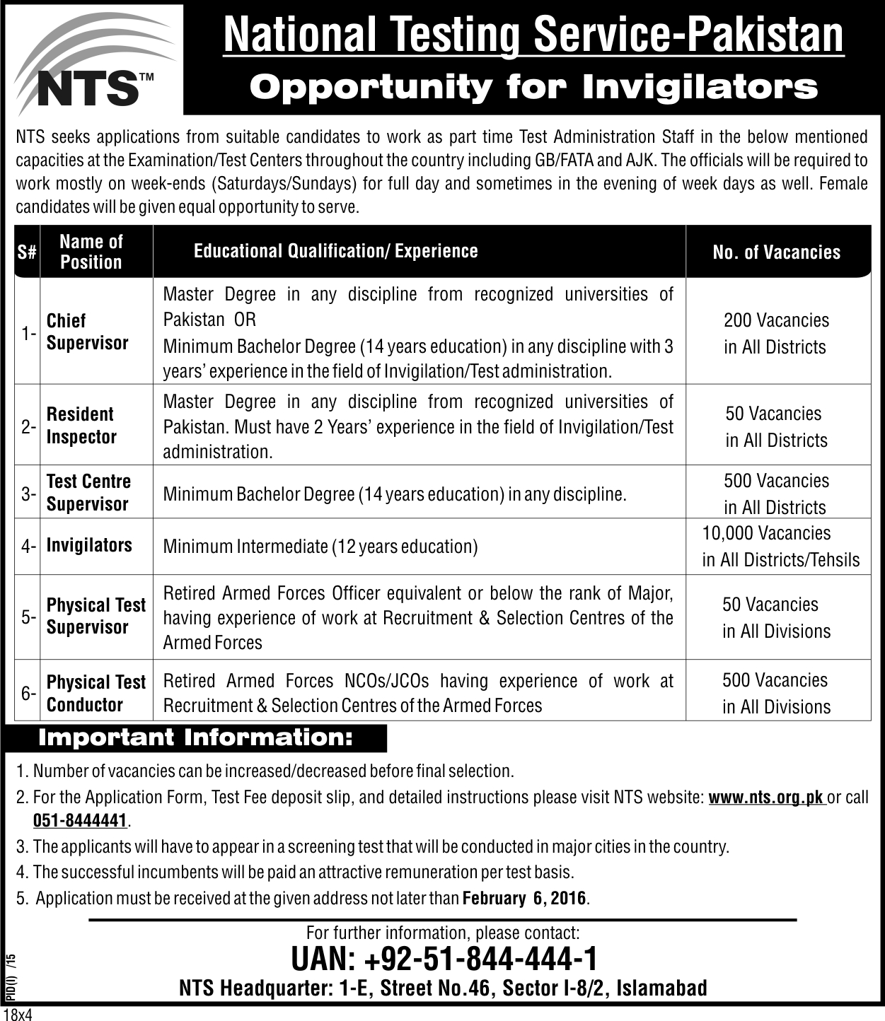 NTS Invigilator Jobs 2016 Online Test Preparation