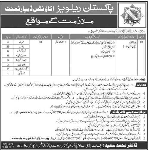 Pakistan Railway Junior Auditor OTS Jobs 2017