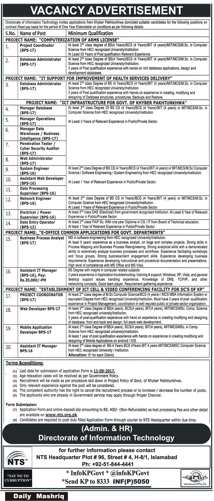 Directorate of Information Technology jobs KPK 2017