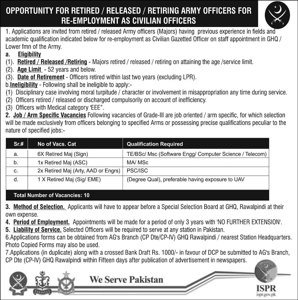 Join Pakistan Army as Civilian Gazetted Officer 2016