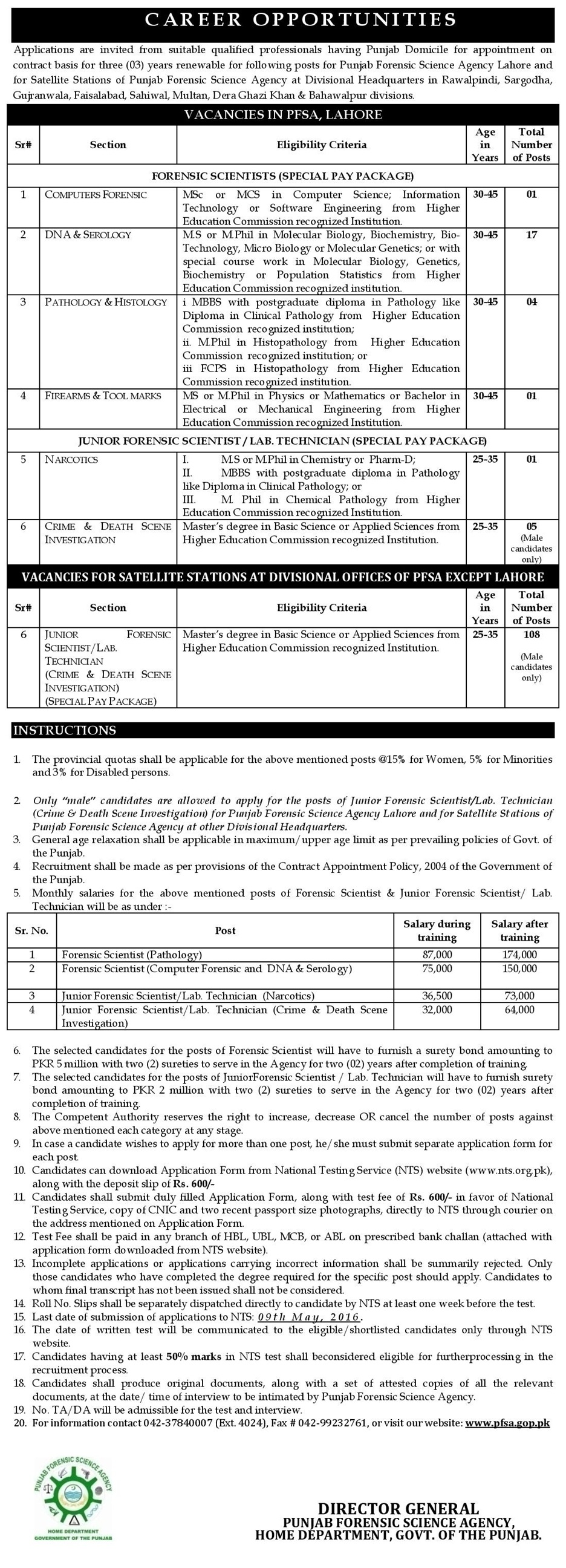 Punjab Forensic Science Agency Jobs 2016