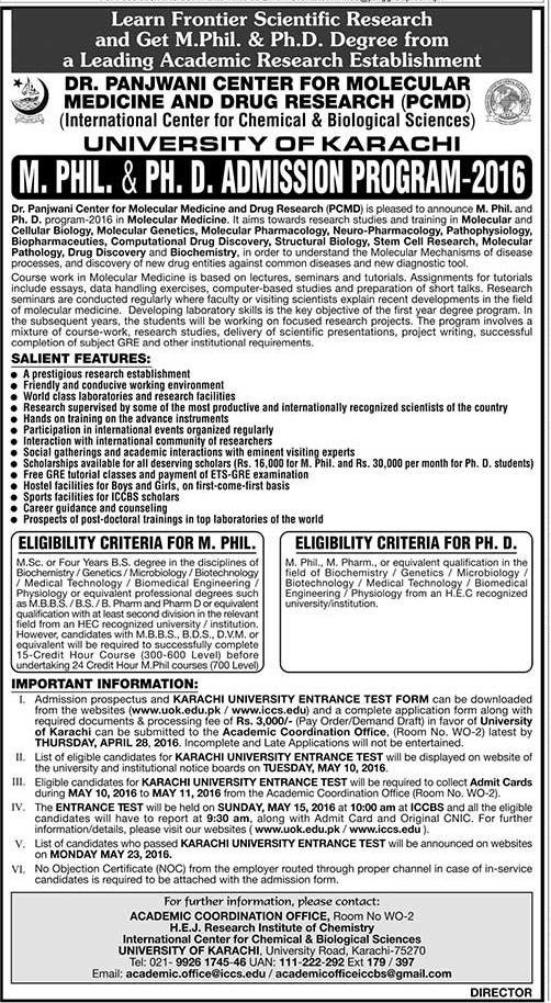 University of Karachi MPhil and PhD Admission 2016