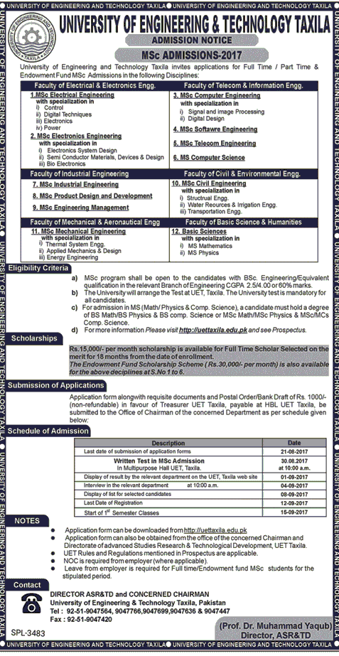 UET Taxila Msc Engineering Admissions 2017