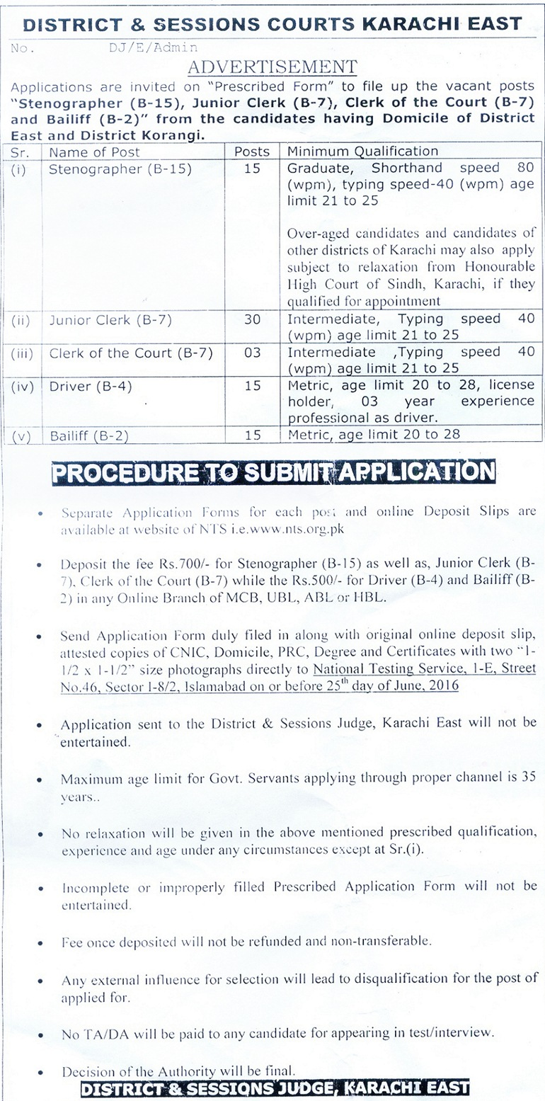District & Sessions Courts Karachi East Jobs NTS Test 2016