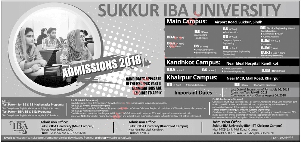 IBA Sukkar University admission 2018