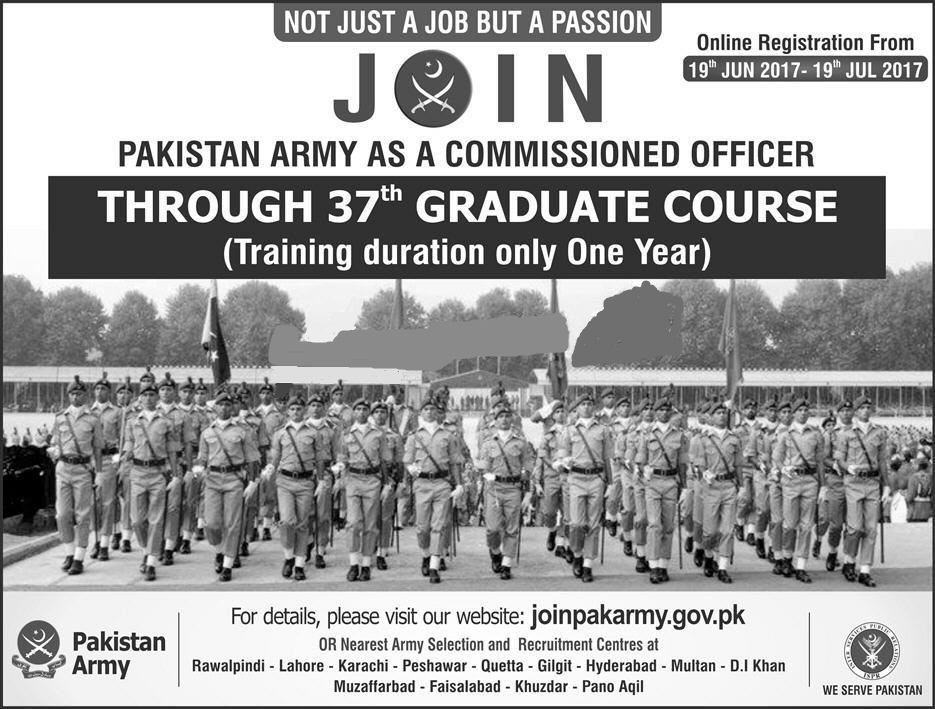 Join Pak Army as commissioned officer 37th Graduate Course