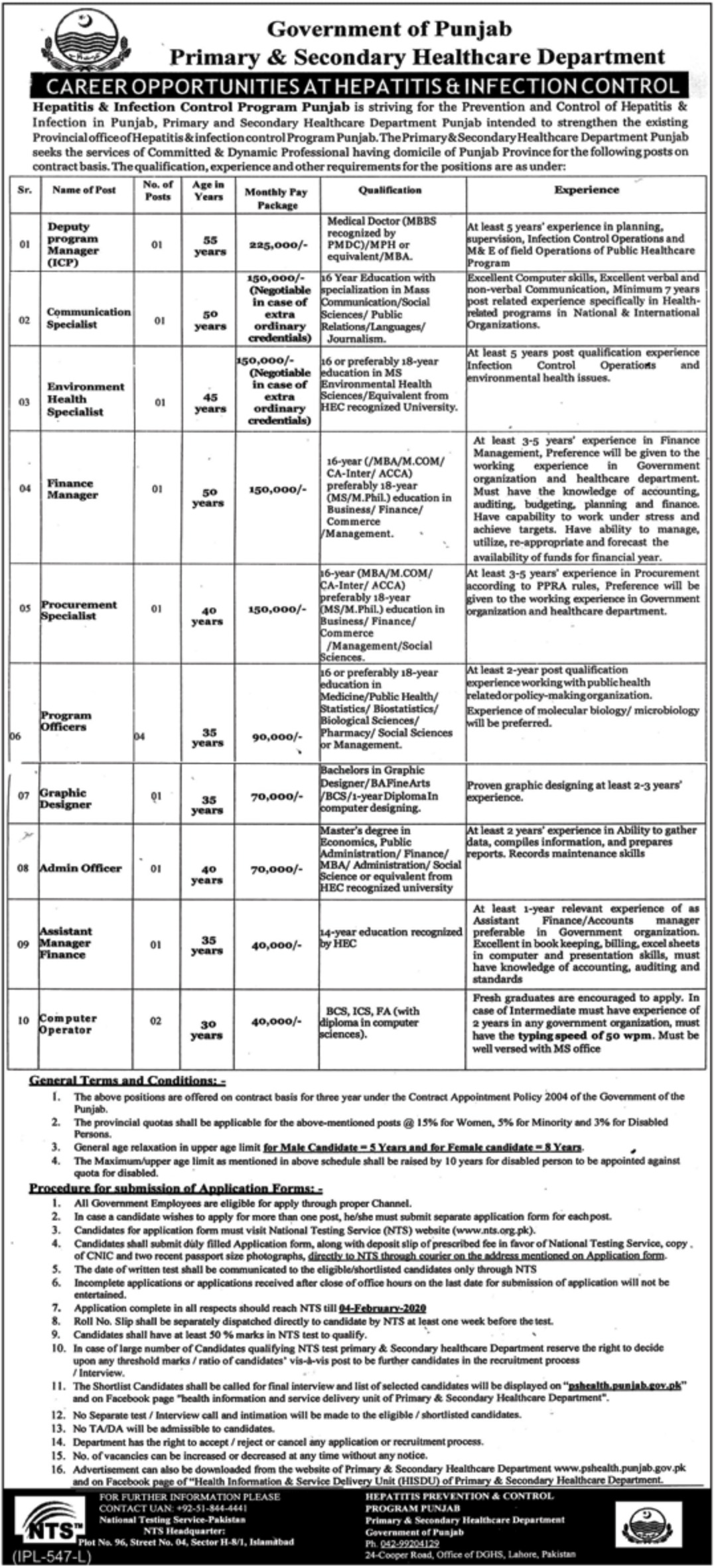 Punjab Primary and Secondary Healthcare Department Jobs 2020 NTS Test Preparation Online