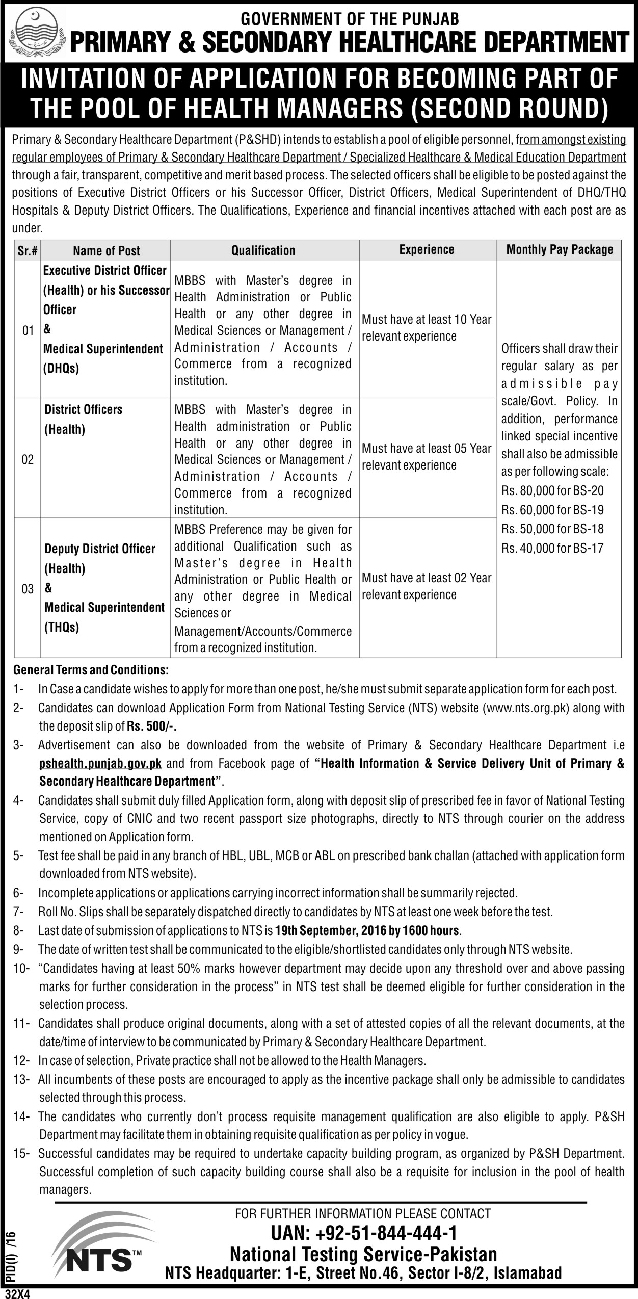 Primary and Secondary Healthcare Department Punjab Jobs 2016