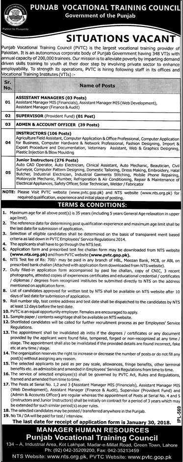 Punjab Vocational Training Council Jobs