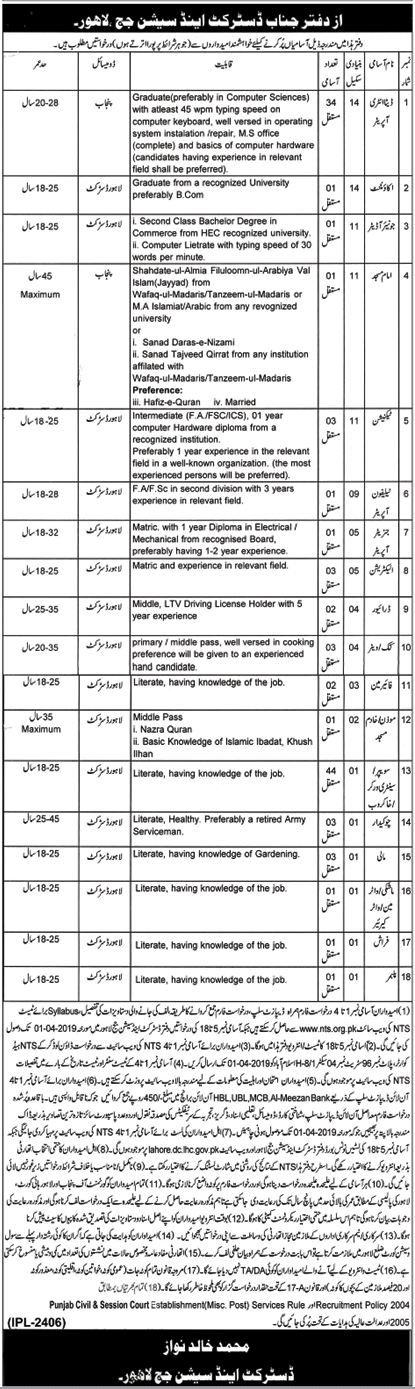 District & Sessions Court Jobs Lahore 2019 NTS Test Online Preparations