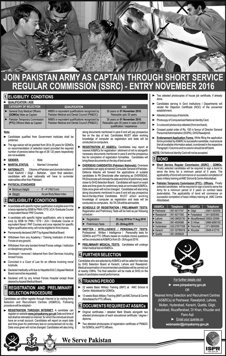 Join Pak Army as a Captain 2016