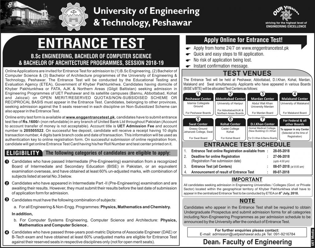Peshawar University ETEA Entrance Test 2018
