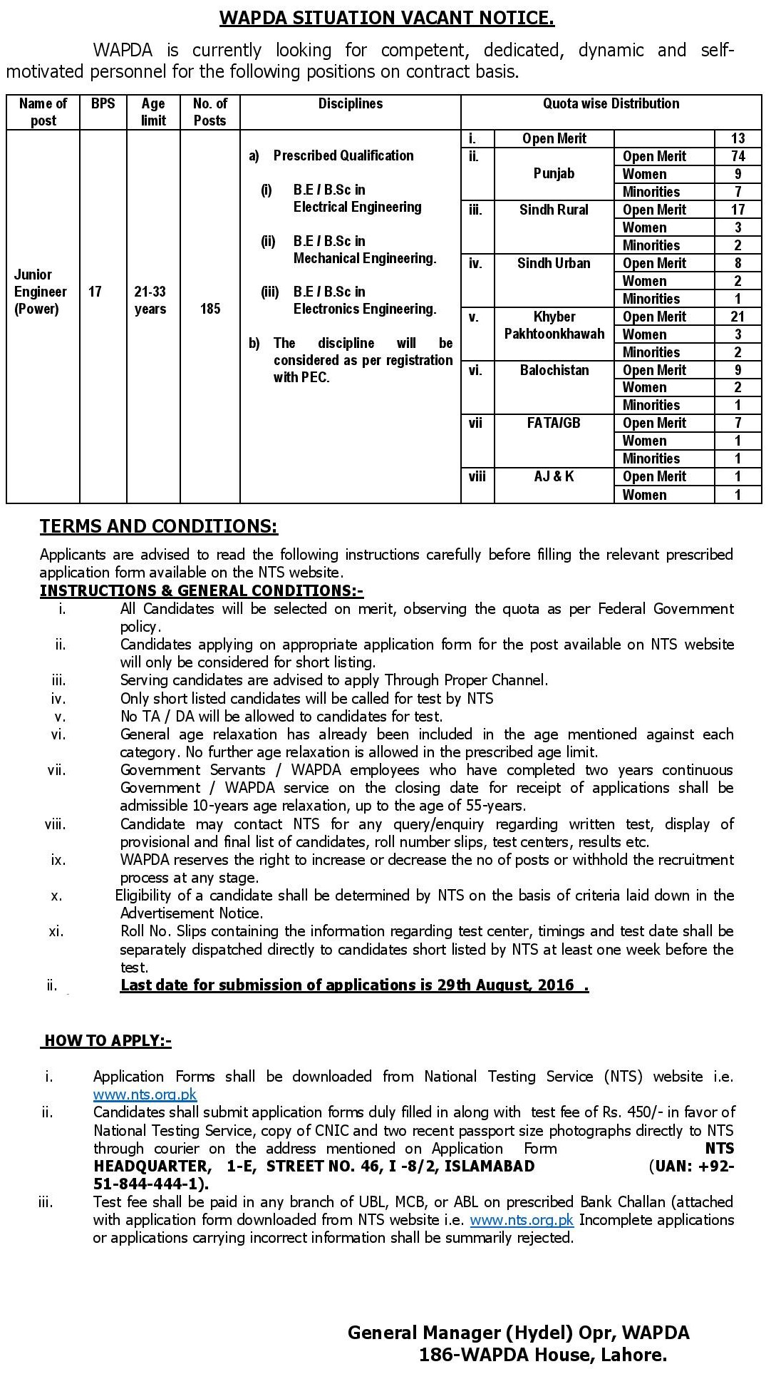 NTS WAPDA Jobs 2016 Test