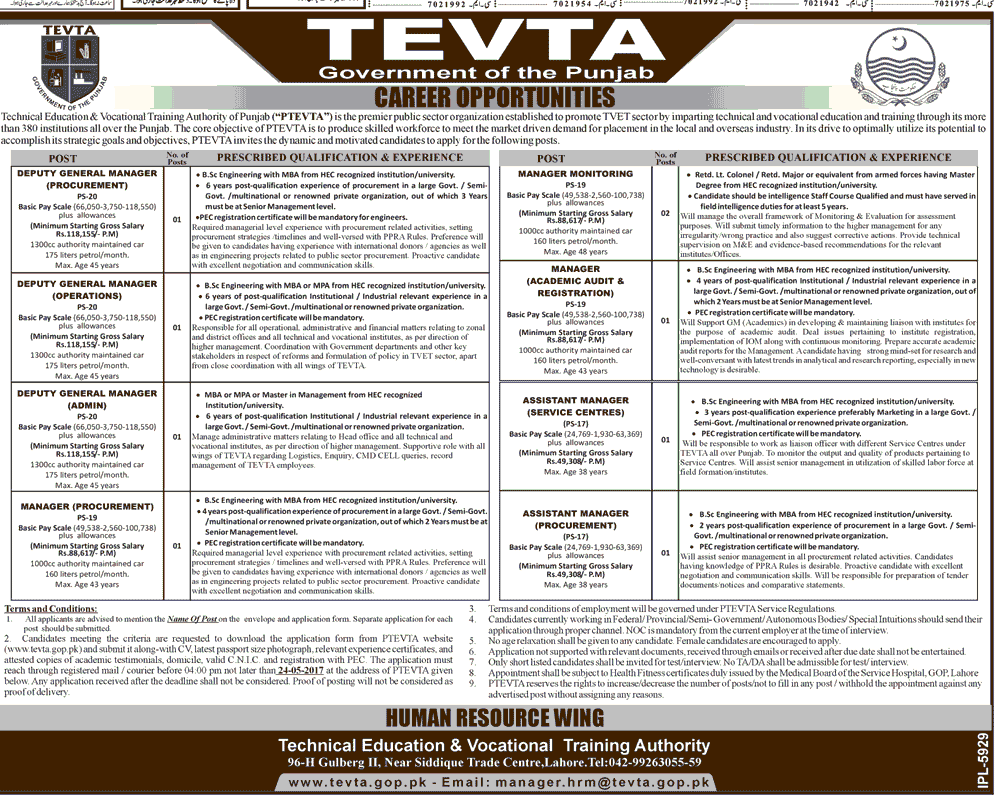 TEVTA Punjab Jobs Apply Registration Dates