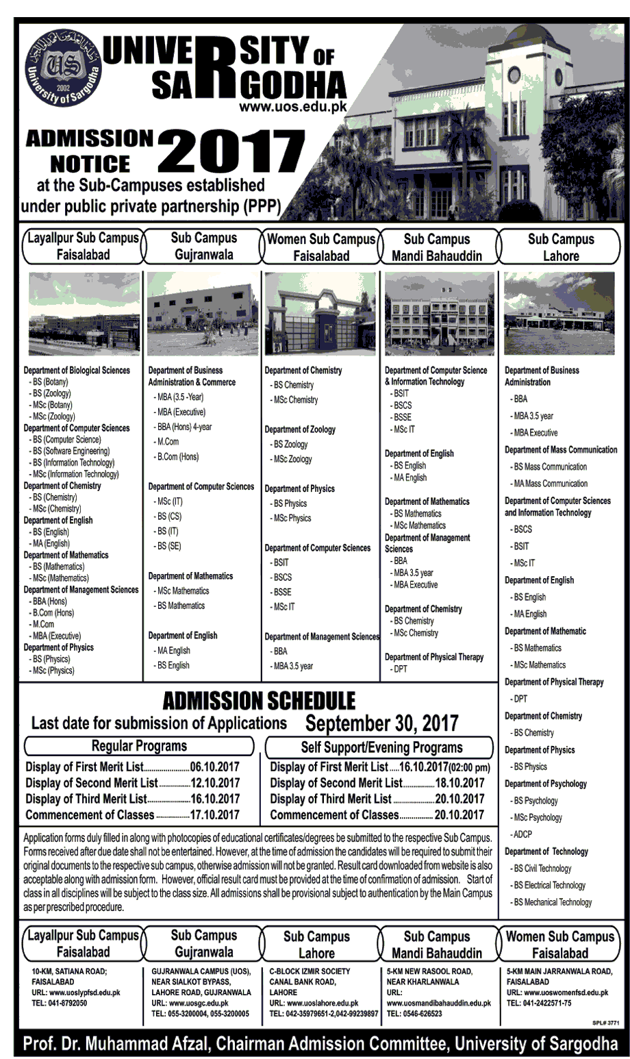 University of Sargodha Admission 2017