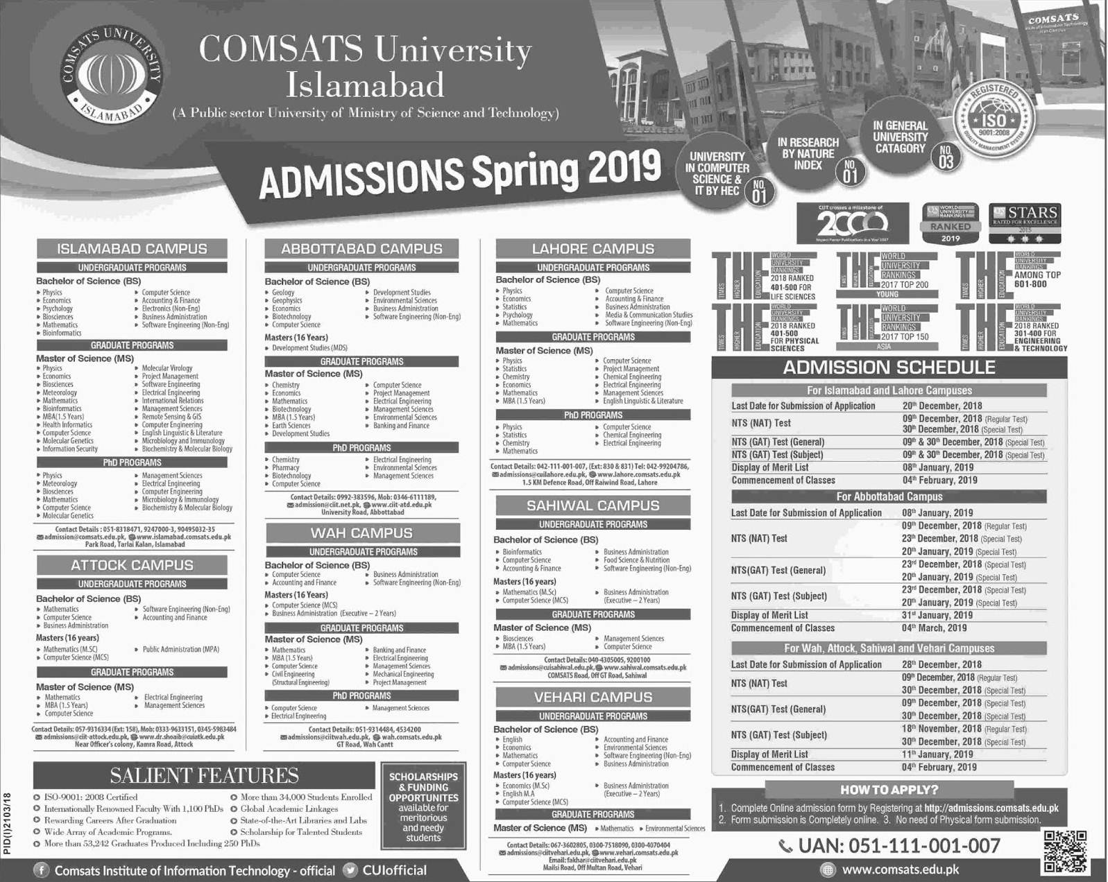 COMSAT University Spring Admissions 2019