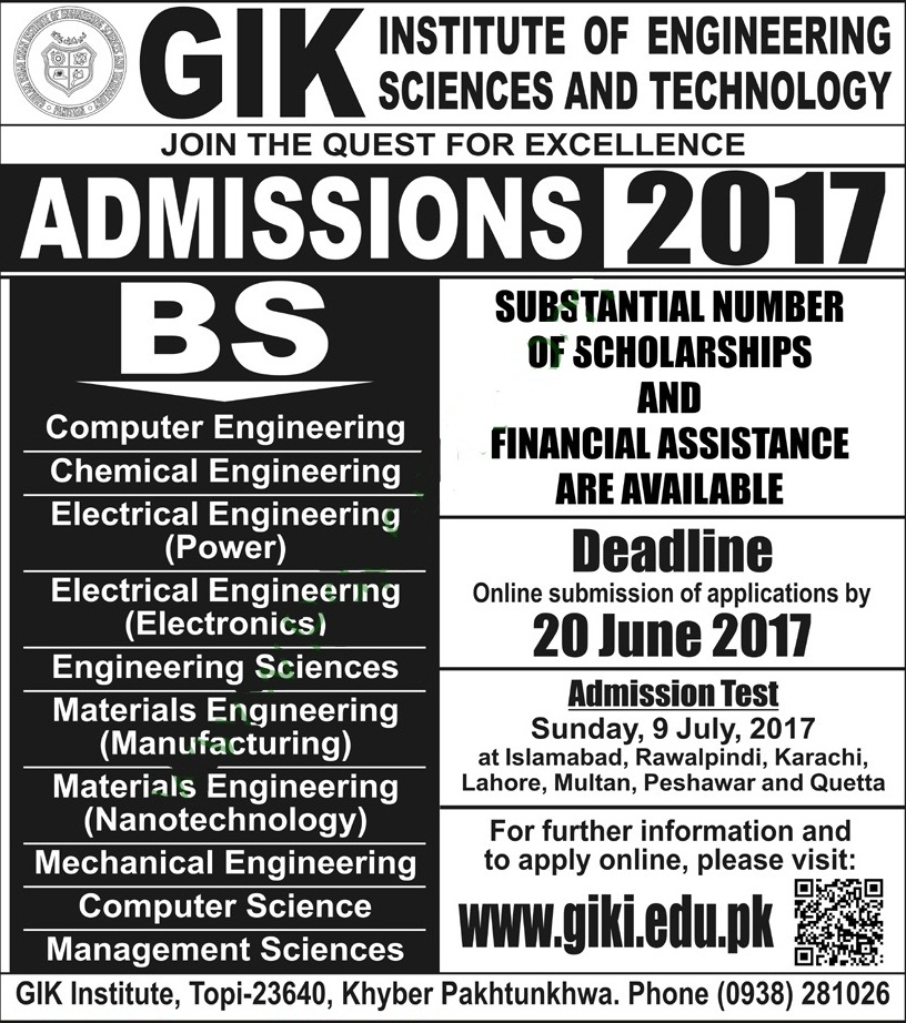 GIK institution admission 2017