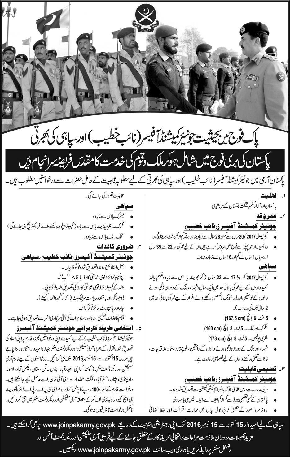 Join Pak Army as Commissioned Officer Clerks Constable Online Registration