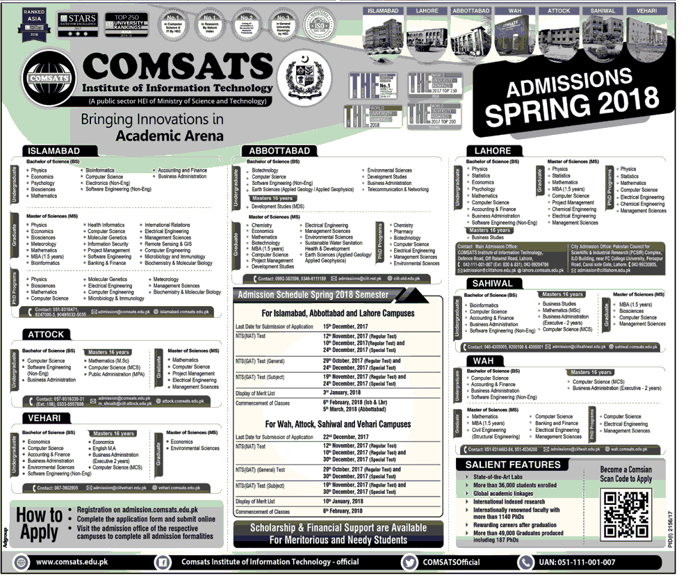 Comsat University Spring Admissions 2018