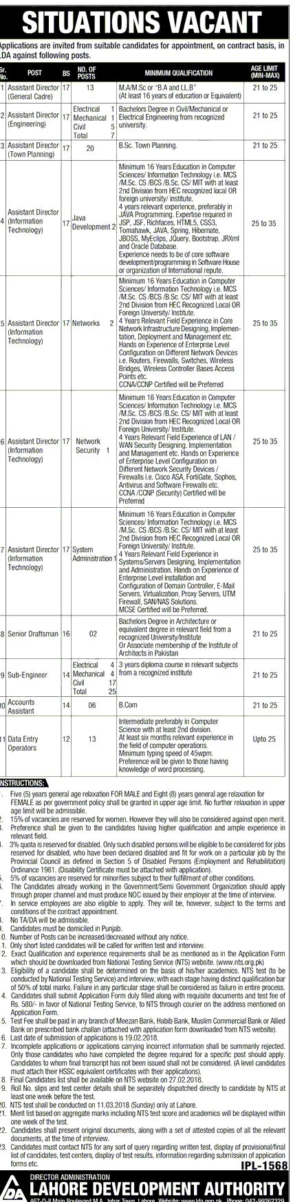 LDA Latest Jobs 2018