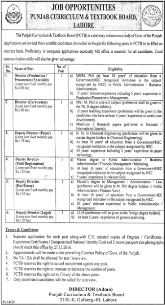 Punjab Curriculum & Textbook Board Jobs 2017 Last Date