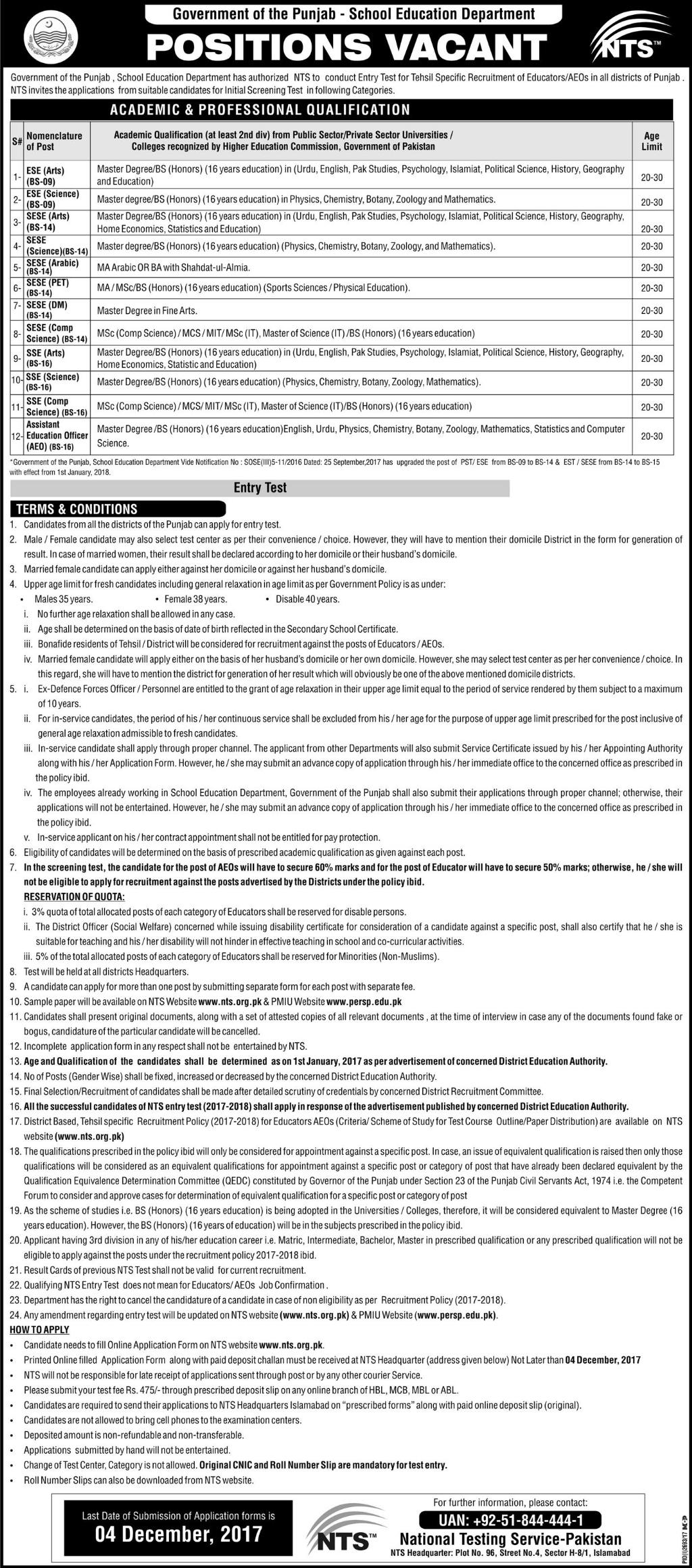 district muzaffargarh educators teachers jobs 2018 ads application
