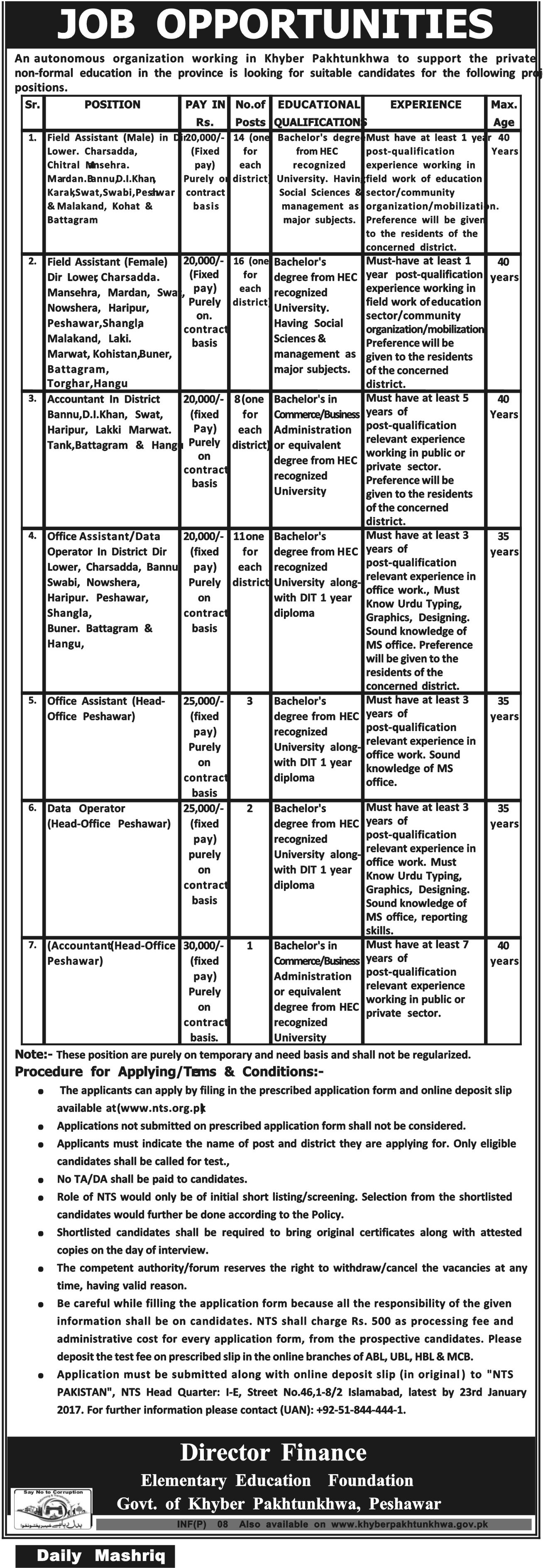 Elementary Education Foundation KPK Jobs 2017 NTS Application Form Eligibility Criteria