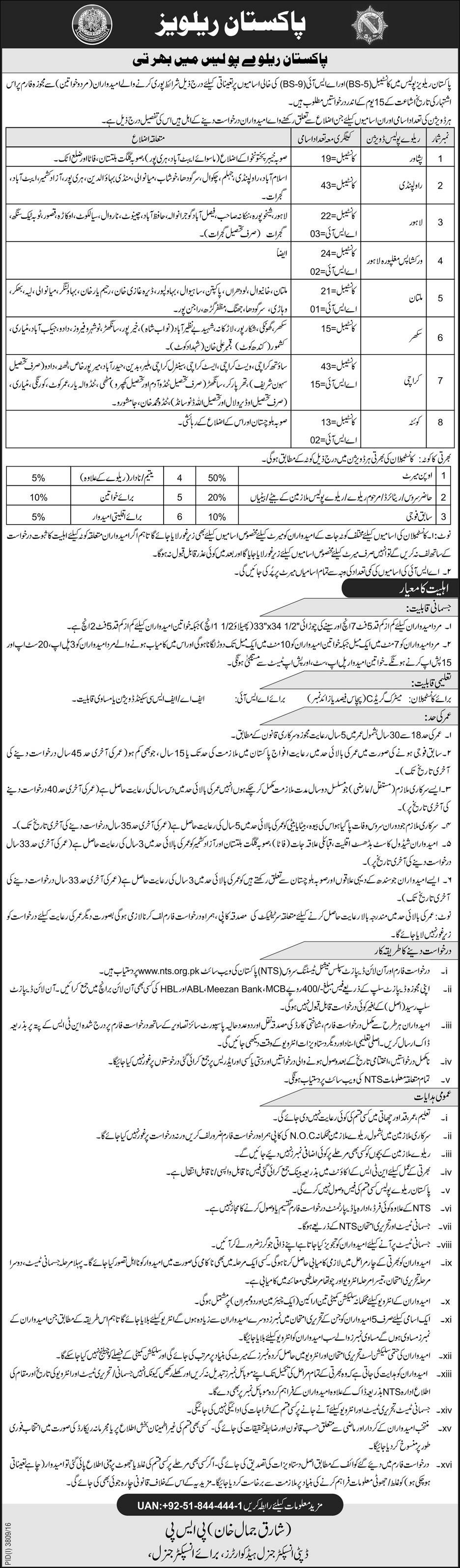 Pakistan Railway Police NTS Jobs Eligibility Criteria Application Form Download Last Date