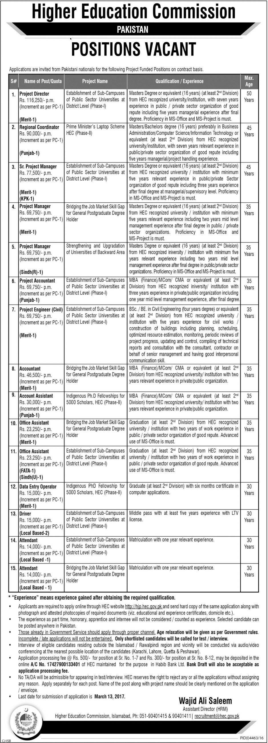 HEC-Jobs-2017 Higher education commission jobs